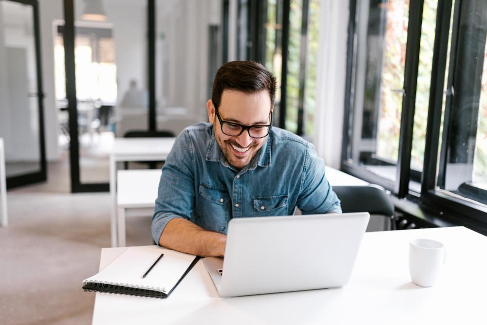 Man writing website content