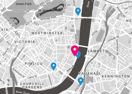 Map of Westminster, Vauxhall, Pimlico area
