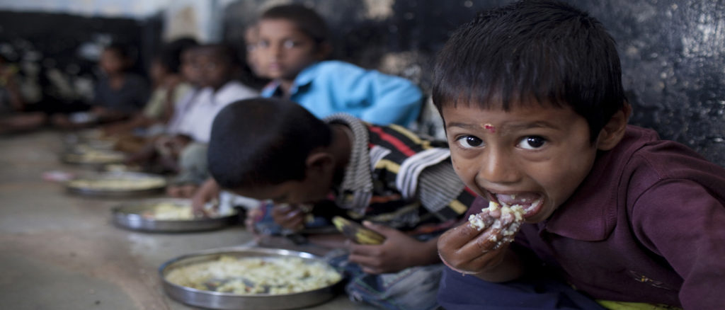 School children eating at the Mid Day Meal Scheme in Andhra Pradesh, as funded by Kusuma Trust