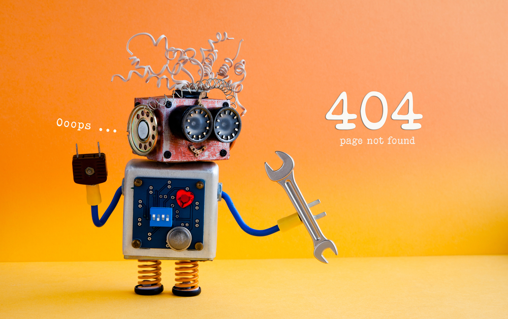 Oops - 404 error page robot