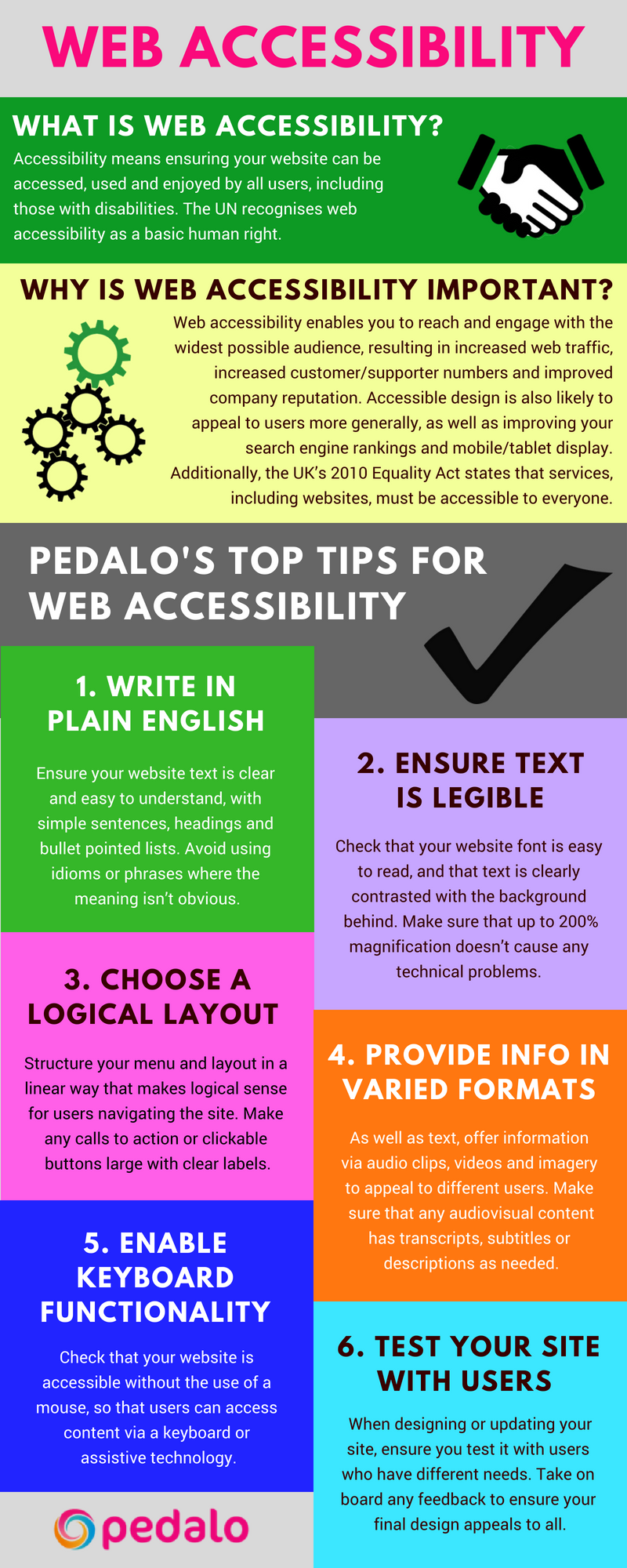 Accessibility infographic by Pedalo