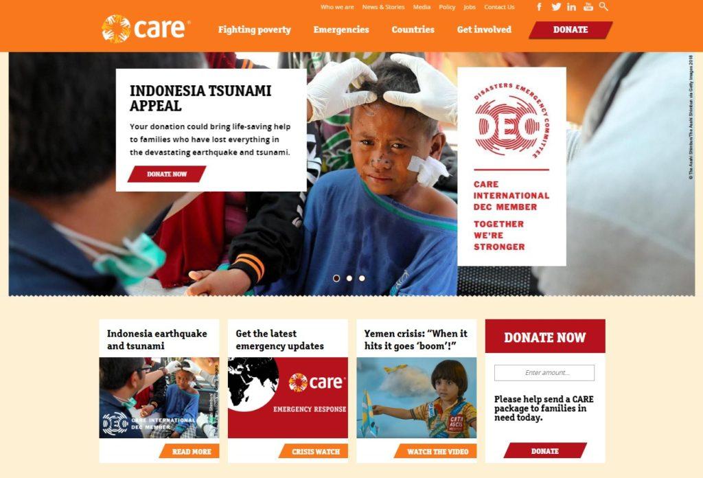 Care International charity web design homepage
