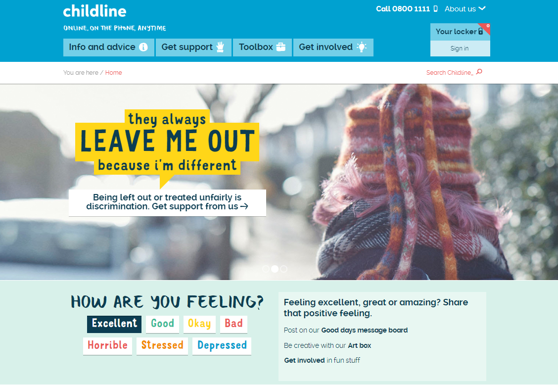 Childline charity web design homepage