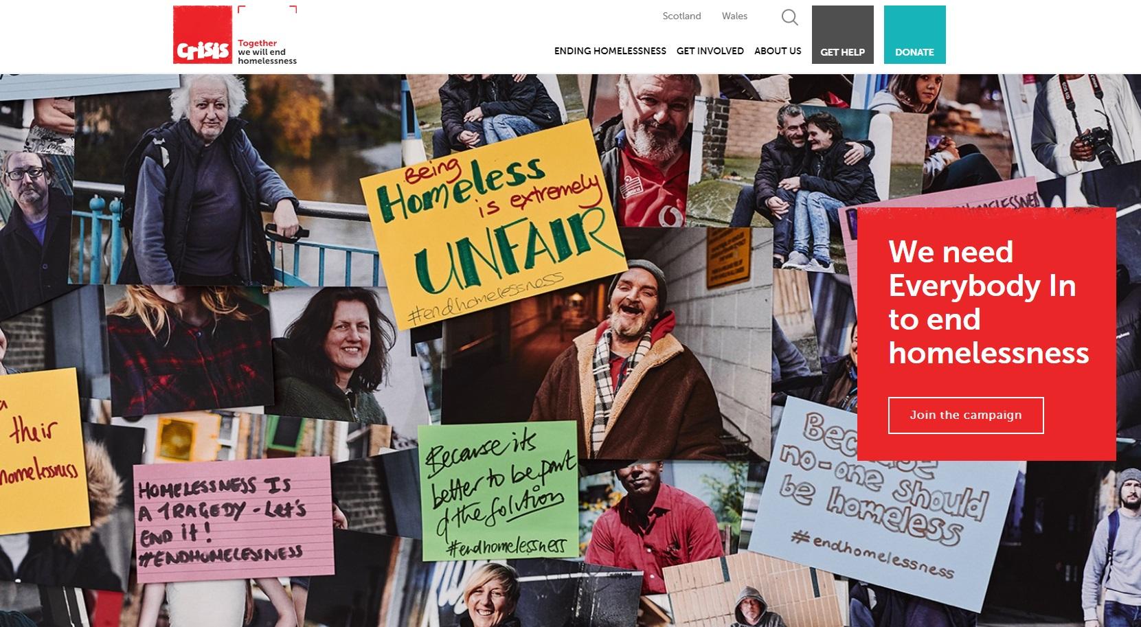 Crisis charity web design homepage
