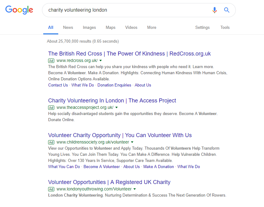 Google Ad Words charity grants