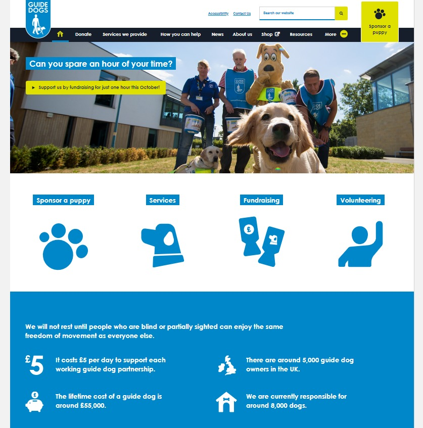 Guide Dogs charity web design homepage