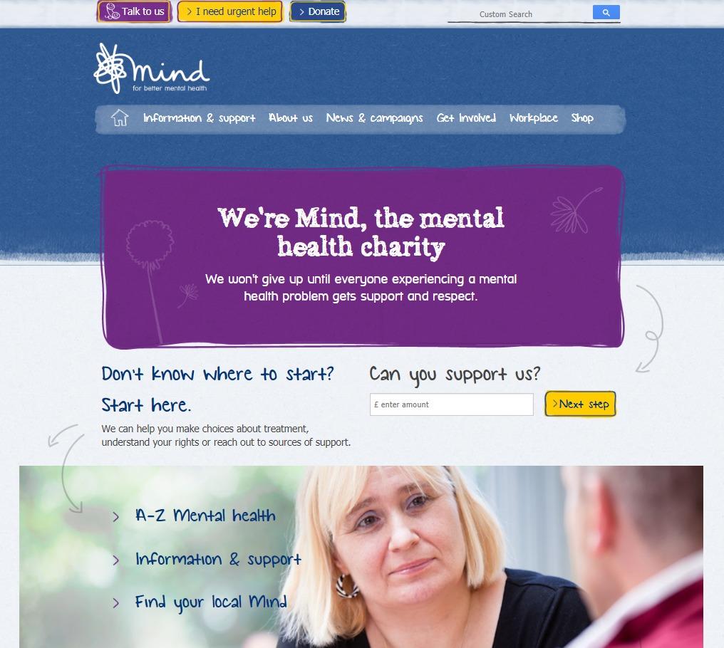 Mind charity web design homepage