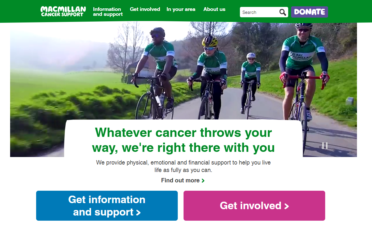 MacMillan charity web design homepage