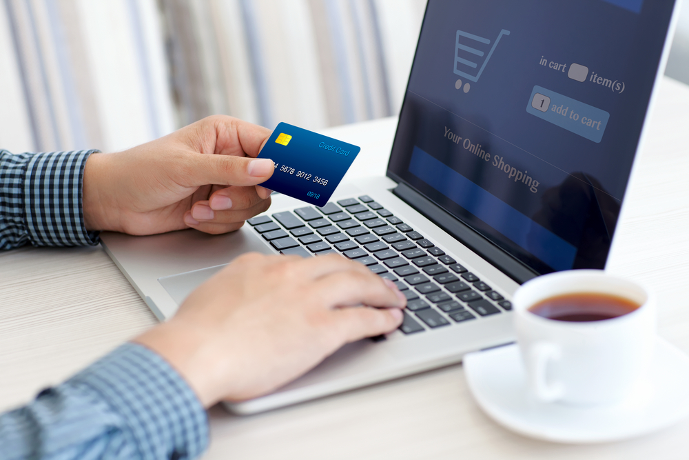 Person making an e-commerce transaction